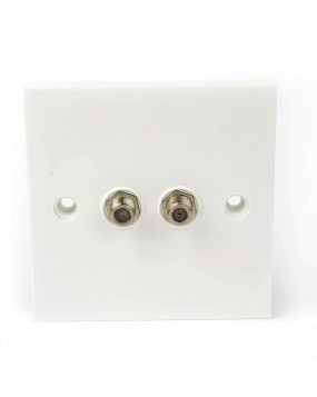 Twin F-Type Satellite Outlet Wall Plate (Slimline)